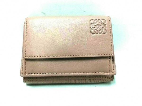 LOEWE(ロエベ) 3つ折り財布 リネン/トライフォールド ウォレット - ブラッシュ ミニ
