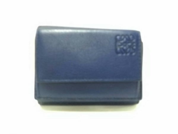 ロエベ 3つ折り財布美品  リネン/トライフォールド ウォレット - ネイビーブルー ミニ