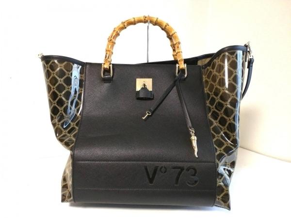 V73(ヴィセッタンタトレ) トートバッグ美品  黒×ベージュ レザー×ビニール