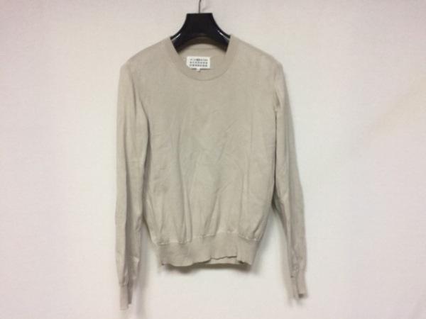 マルタンマルジェラ 長袖セーター サイズM レディース美品  ベージュ×ライトグレー