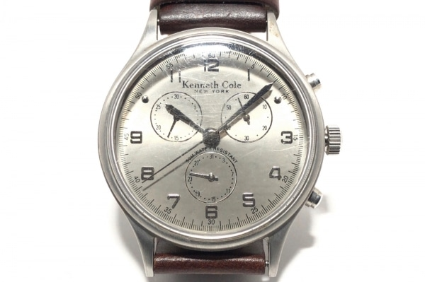 KENNETH COLE(ケネスコール) 腕時計 KC1081 メンズ 革ベルト/クロノグラフ シルバー