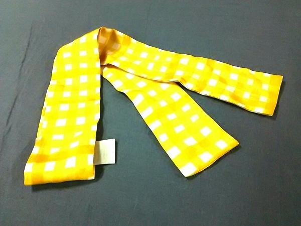 COACH(コーチ) スカーフ美品  イエロー×白 リボンスカーフ/チェック柄