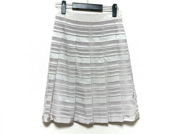 23区(ニジュウサンク) スカート サイズ36 S レディース美品  ライトグレー ボーダー