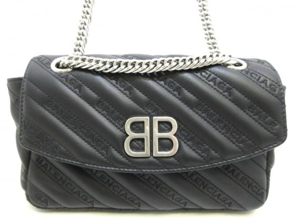バレンシアガ ショルダーバッグ美品  BBラウンドS 501681 黒 カーフスキン