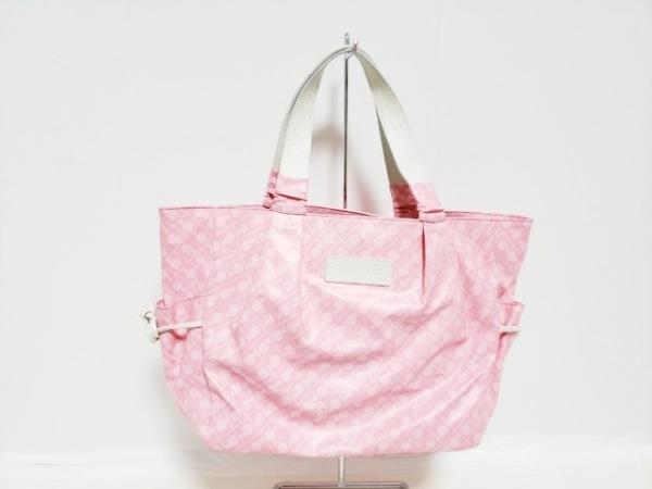 ゲラルディーニ トートバッグ ピンク×アイボリー PVC(塩化ビニール)×レザー