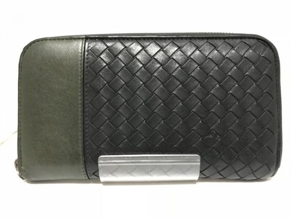 ボッテガヴェネタ 長財布 イントレチャート B03620263K 黒×ダークグリーン レザー
