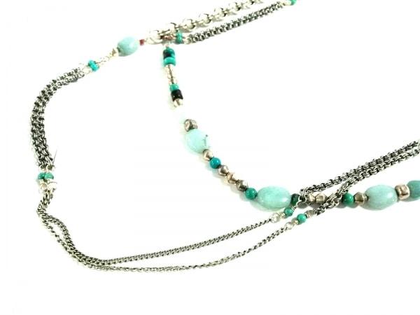 サテリット ネックレス美品  金属素材×カラーストーン シルバー×ライトブルー