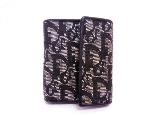 クリスチャンディオール 3つ折り財布 ロゴグラム - ベージュ×黒 ジャガード×レザー