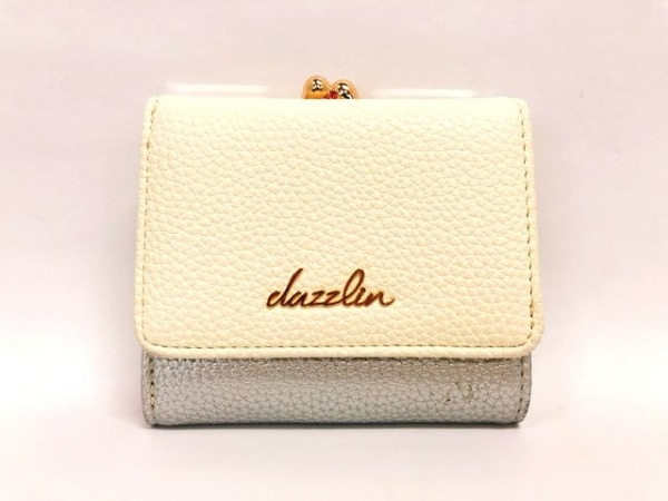 DAZZLIN(ダズリン) 3つ折り財布 白×シルバー がま口 レザー