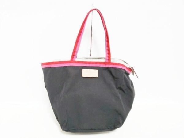 ケイトスペード ハンドバッグ PXRU0010 黒×レッド×ピンク 折りたたみ ナイロン