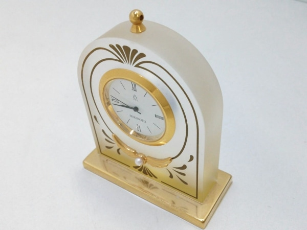 ミキモト 小物 クリア×ゴールド 置時計(動作確認できず) ガラス×金属素材×パール