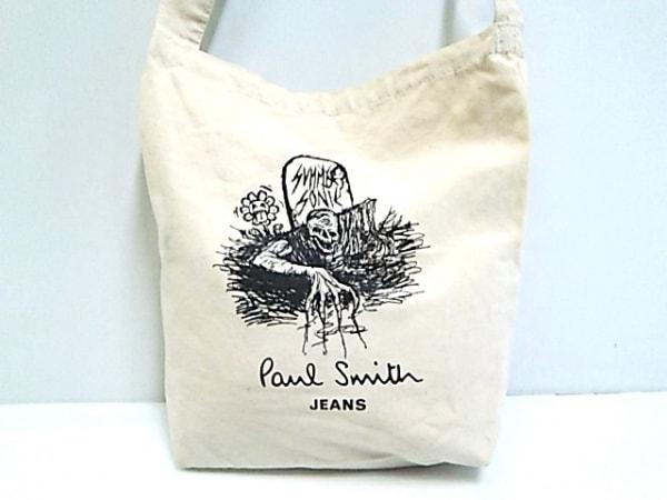 PaulSmithJEANS(ポールスミスジーンズ) ショルダーバッグ ベージュ×黒 キャンバス