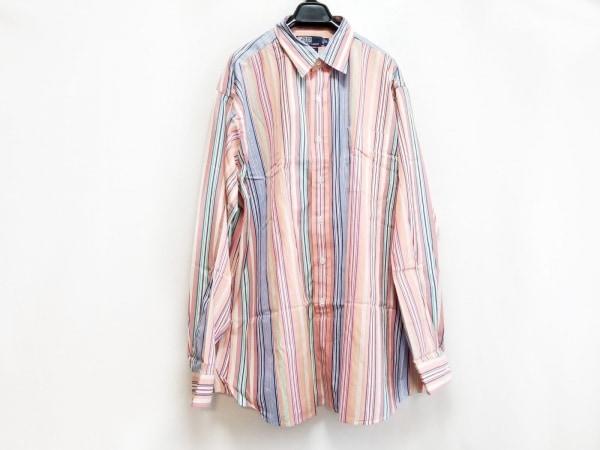 ポロラルフローレン 長袖シャツ サイズXL メンズ美品  オレンジ×ネイビー×マルチ