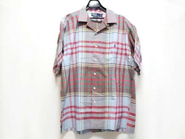 ポロラルフローレン 半袖シャツ サイズXL メンズ ライトブルー×レッド×マルチ