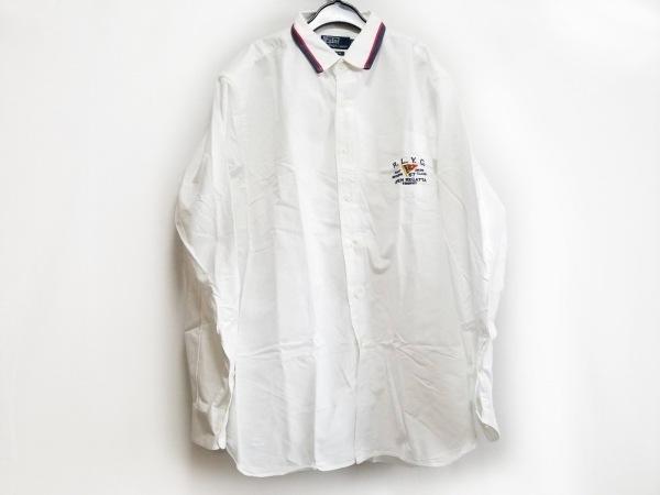 ポロラルフローレン 長袖シャツ サイズXL メンズ 白×ダークネイビー×レッド