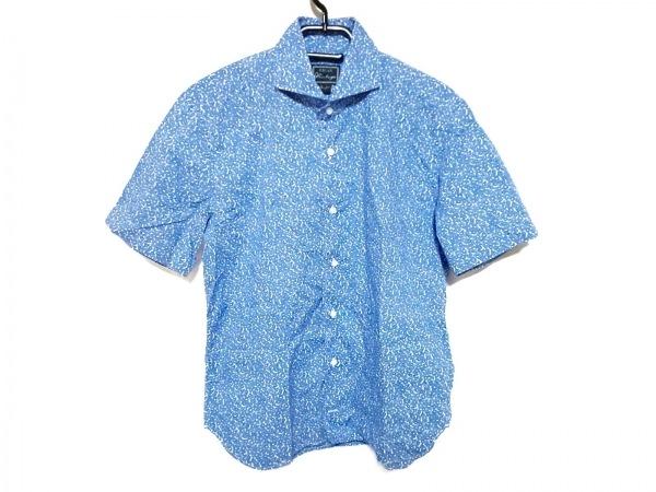 ORIAN(オリアン) 半袖シャツ サイズM メンズ ブルー×白 花柄