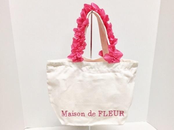メゾンドフルール トートバッグ美品  白×ピンク キャンバス×化学繊維