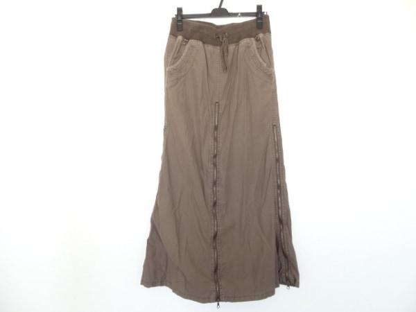 ゴア ロングスカート サイズF レディース カーキブラウン ジップアップ/刺繍