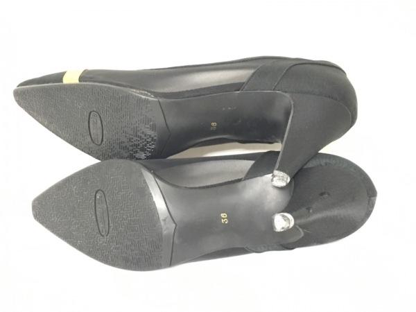 cassandre(カサンドレ) パンプス 23 レディース 黒×ゴールド 化学繊維×サテン