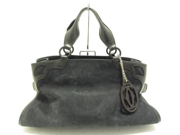 Cartier(カルティエ) ハンドバッグ マルチェロ 黒 型押し加工 ヌバック×レザー