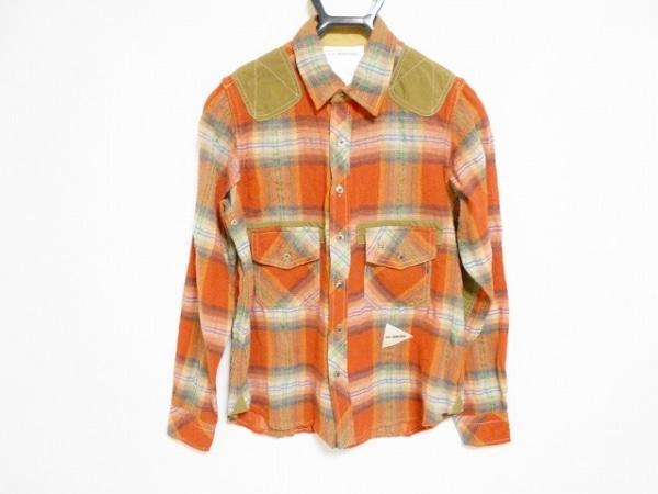 アンドワンダー 長袖シャツ サイズ1 S メンズ オレンジ×カーキ×マルチ チェック柄