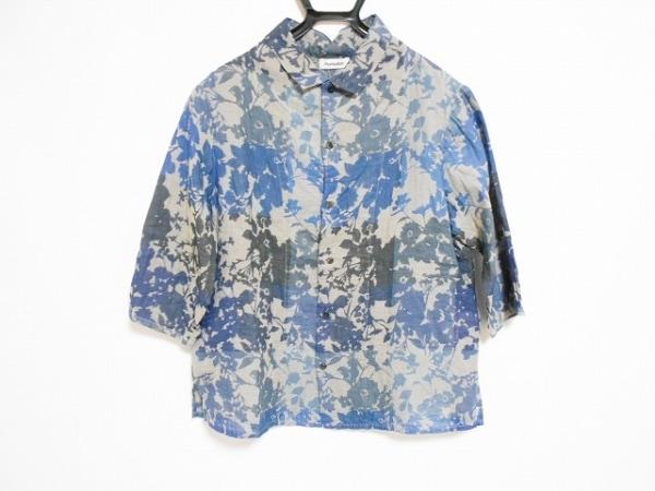 プランテーション 七分袖シャツ サイズM メンズ美品  グレー×ネイビー×ダークグレー