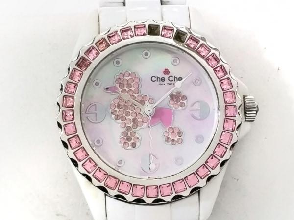 チチ ニューヨーク 腕時計 CC4106 レディース ラインストーン/シェル文字盤 ピンク
