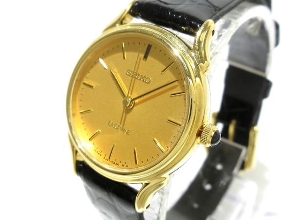 セイコー 腕時計美品  エクセリーヌ 2J410A10 レディース 型押し加工/18KT ゴールド
