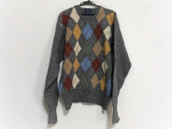 フレッドペリー 長袖セーター サイズLL メンズ美品  グレー×マルチ アーガイル