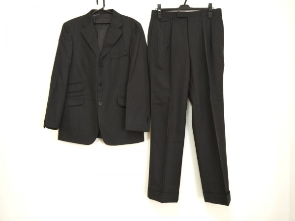 バーバリーブラックレーベル メンズスーツ メンズ 黒×ブルー ストライプ/3ピース