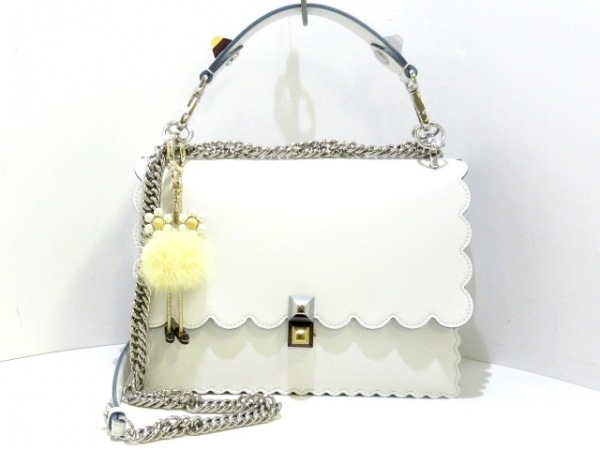 FENDI(フェンディ) ハンドバッグ美品  キャナイ 8BT283 白×黒×グレー レザー