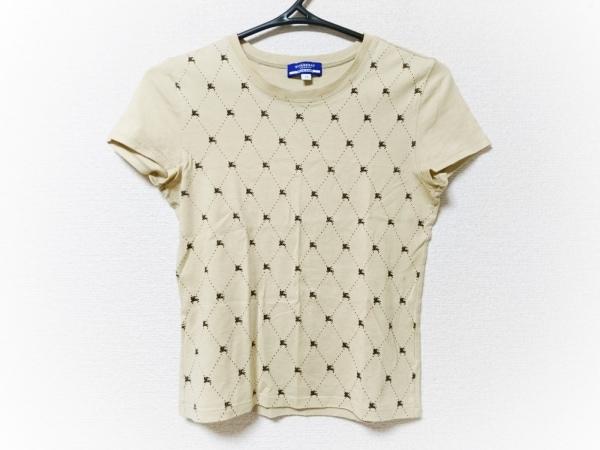 バーバリーブルーレーベル 半袖Tシャツ サイズM レディース ベージュ×ダークブラウン