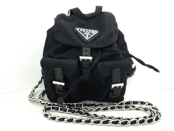 プラダ ショルダーバッグ美品  - BZ0029 黒 ミニリュック型/チェーンショルダー
