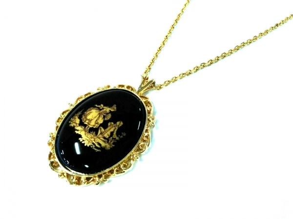 リモージュキャッスル ネックレス美品  陶器×金属素材 ダークネイビー×ゴールド