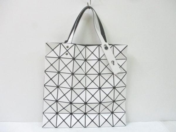 バオバオイッセイミヤケ トートバッグ 白×黒 PVC(塩化ビニール)×ポリエステル