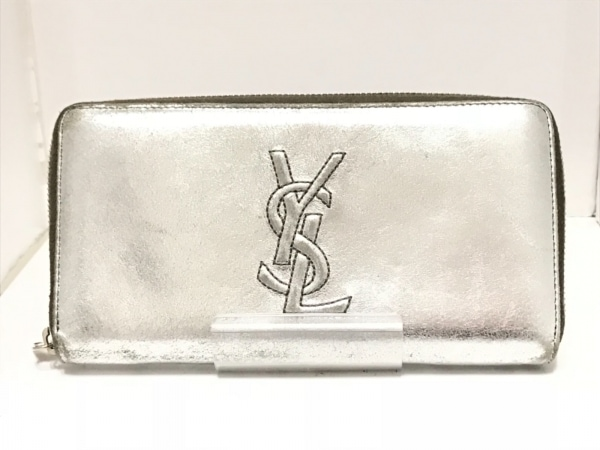 イヴサンローランリヴゴーシュ 長財布 - 177555 シルバー ラウンドファスナー レザー