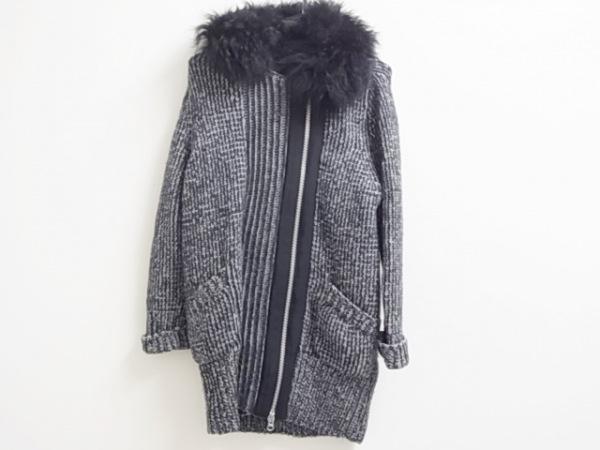 マカフィ コート サイズ38 M レディース美品  黒×グレー 春・秋物/ニット/ファー