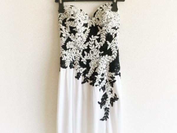 JEAN MACLEAN(ジーンマクレーン) ドレス サイズ9 M レディース 白×黒 ラインストーン