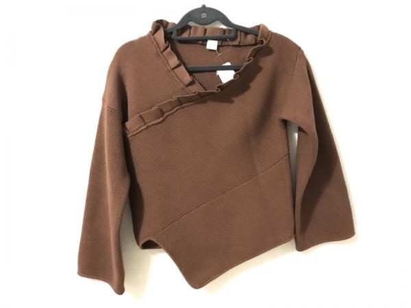 エリン 長袖セーター サイズ00 XS レディース美品  ダークブラウン フリル/変形2