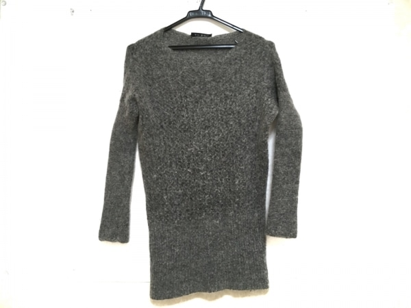 MIKI MIALY(ミキミアリー) 長袖セーター サイズ34 S レディース美品  グレー ロング丈