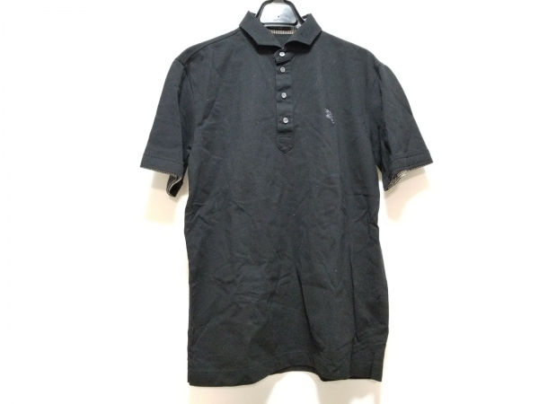 バーバリーブラックレーベル 半袖ポロシャツ サイズ3 L メンズ美品  黒