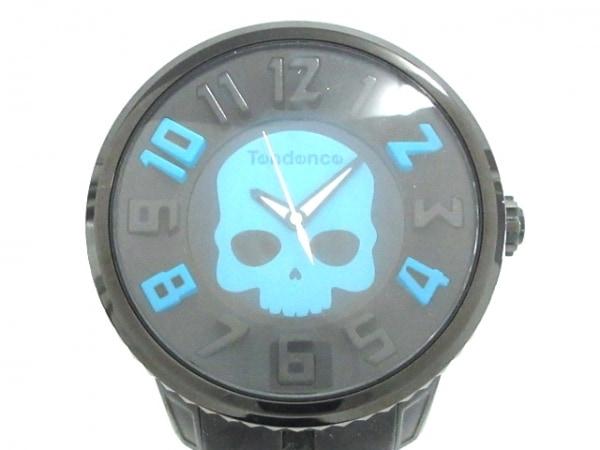 テンデンス 腕時計 S04P メンズ スカル/Tendence FOR HYDROGEN 黒×ライトブルー