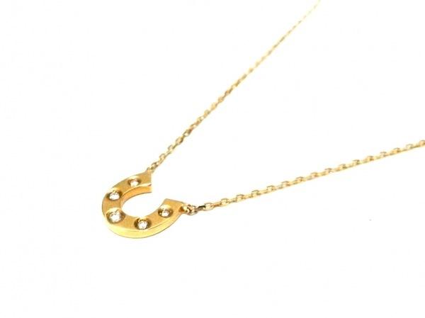 ete(エテ) ネックレス美品  K18YG×ダイヤモンド 5Pダイヤ/0.0.4カラット/蹄モチーフ