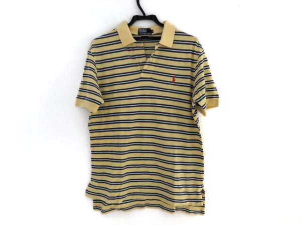 ポロラルフローレン 半袖ポロシャツ サイズL メンズ イエロー×ネイビー×白 ボーダー
