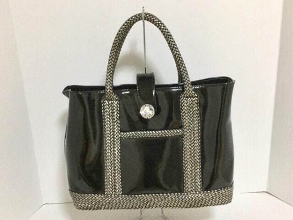 アンナマリー トートバッグ美品  黒×メタリックグレー PVC(塩化ビニール)