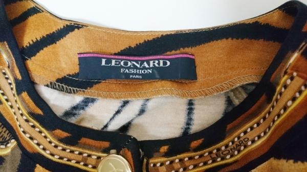 レオナール カーディガン サイズM レディース美品  ブラウン×黒×マルチ 肩パッド