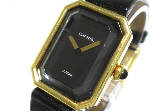 CHANEL(シャネル) 腕時計 プルミエール - レディース K18YG/エナメルベルト 黒