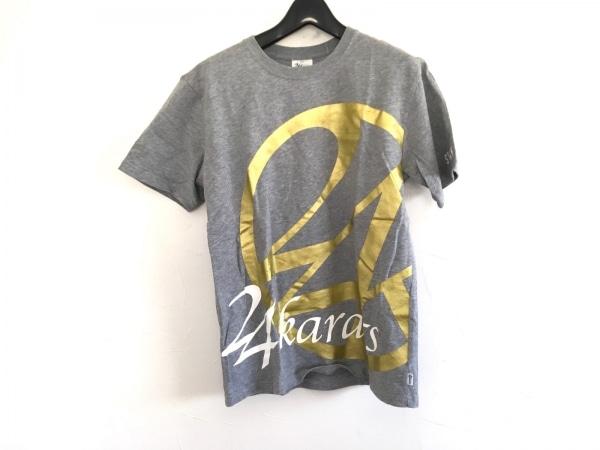24カラッツステイゴールド 半袖Tシャツ メンズ美品  グレー×ゴールド×白