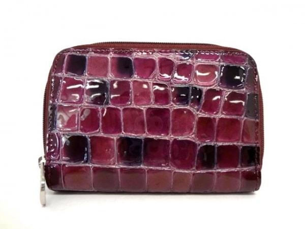 COCCO FIORE(コッコフィオーレ) 財布美品  パープル 型押し加工/ラウンドファスナー
