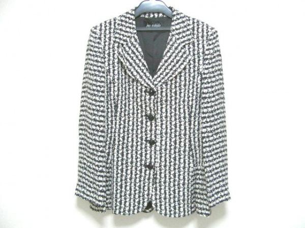 ジュンアシダ ジャケット サイズ9 M レディース新品同様  - 黒×白 シルク